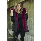 SHORT BLACK PARKA WITH BURGUND REAL FUR COLLAR