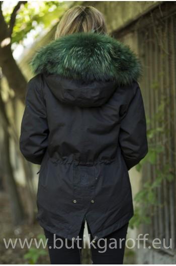 SHORT BLACK PARKA WITH GREEN REAL FUR COLLAR