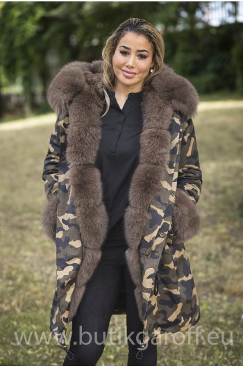 LONG CAMO PARKA WITH BROWN REAL FOX FUR