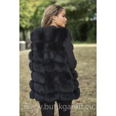 Vest real fur - black