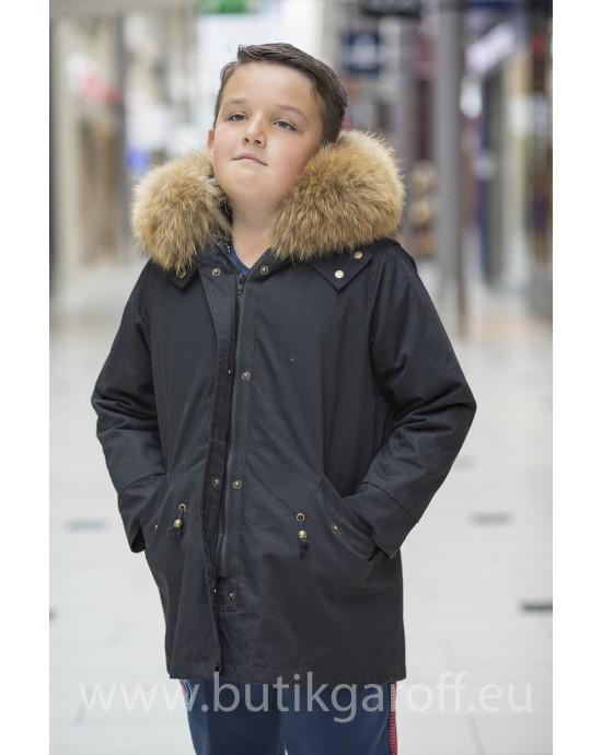 KIDS BLACK PARKA WITH NATURAL REAL FUR COLLAR