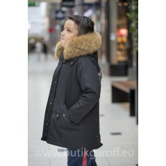 KIDS BLACK PARKA WITH  NATURAL REAL FUR COLLAR