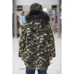 KIDS CAMO PARKA WITH  NATURAL REAL FUR COLLAR