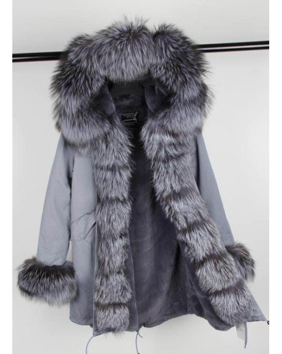 SILVER REAL FOX FUR EXLUSIVE PARKA MODEL 37