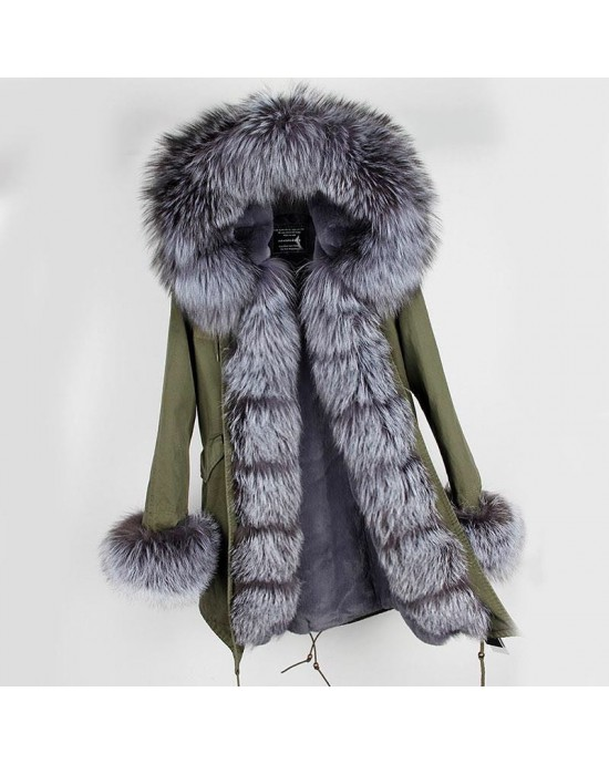 SILVER REAL FOX FUR EXLUSIVE PARKA  MODEL 38