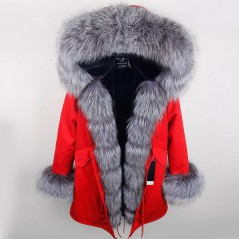 SILVER REAL FOX FUR EXLUSIVE PARKA  MODEL 40