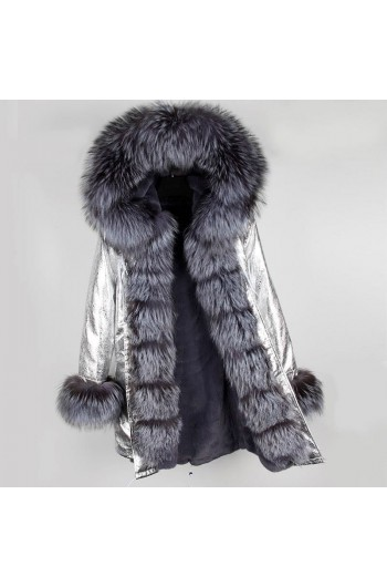 SILVER REAL FOX FUR EXLUSIVE PARKA  MODEL 41