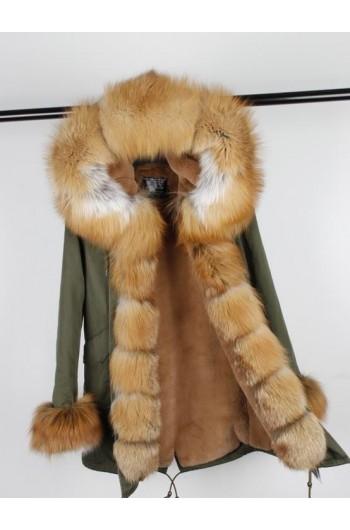 GOLD REAL FOX FUR EXLUSIVE PARKA MODEL 42