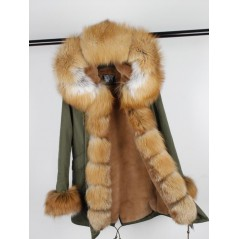 GOLD REAL FOX FUR EXLUSIVE PARKA  MODEL 42