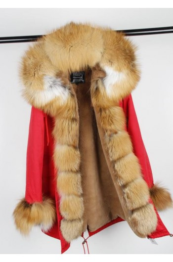 GOLD REAL FOX FUR EXLUSIVE PARKA  MODEL 43