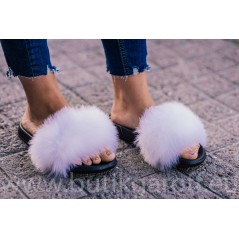 FLUFFY FUR SLIPPERS - WHITE