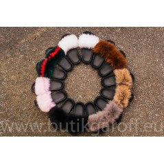 FLUFFY FUR SLIPPERS - GREEN/RED