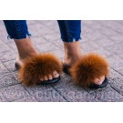 FLUFFY FUR SLIPPERS - BROWN