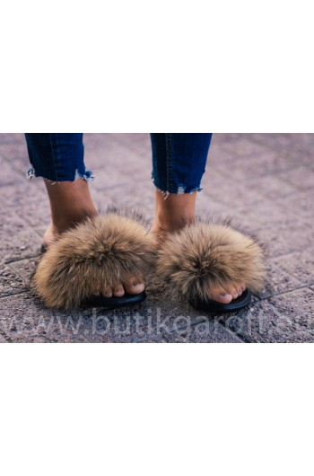 FLUFFY FUR SLIPPERS - NATURAL LIGHT