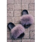 FLUFFY FUR SLIPPERS - LIGHT GREY