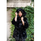 FLUFFY FAKE FUR HOODIE JACKET - BLACK