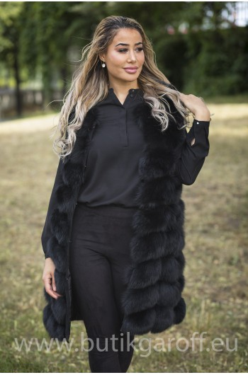 LONG Vest real fur - BLACK 90cm