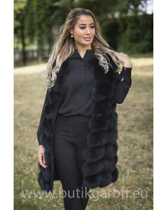 LONG Vest real fur - BLACK long 90cm