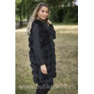 LONG Vest real fur - BLACK long 90cm