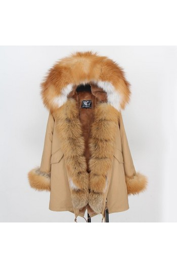 GOLD REAL FOX FUR EXLUSIVE BEIGE PARKA model 45