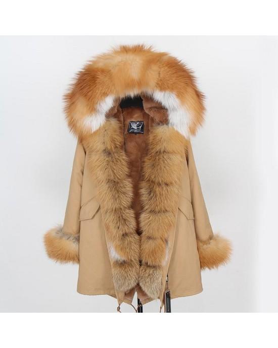 GOLD REAL FOX FUR EXLUSIVE BEIGE PARKA model 45
