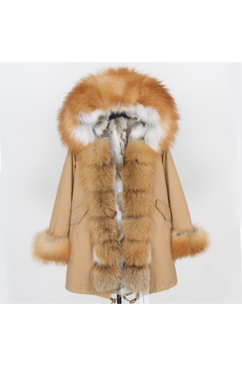 GOLD REAL FOX FUR EXLUSIVE BEIGE PARKA model 46
