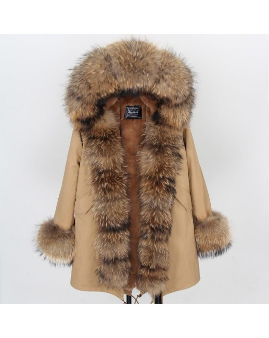 REAL RACOON FUR EXLUSIVE BEIGE PARKA model 47