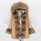 REAL RACOON FUR EXLUSIVE BEIGE PARKA model 48
