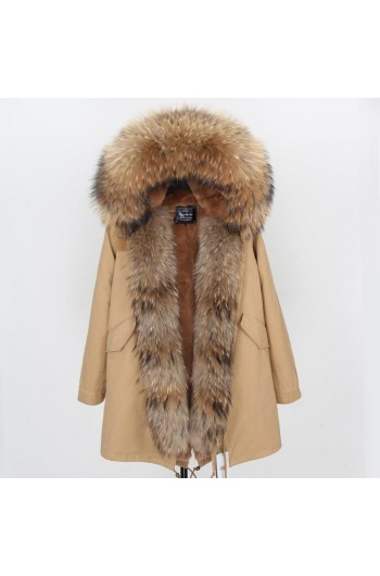 REAL RACOON FUR EXLUSIVE BEIGE PARKA model 49