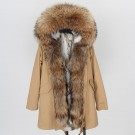 REAL RACOON FUR EXLUSIVE BEIGE PARKA model 50