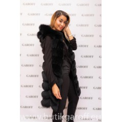 LONG REAL FOX FUR VEST BLACK WITH HOODIE