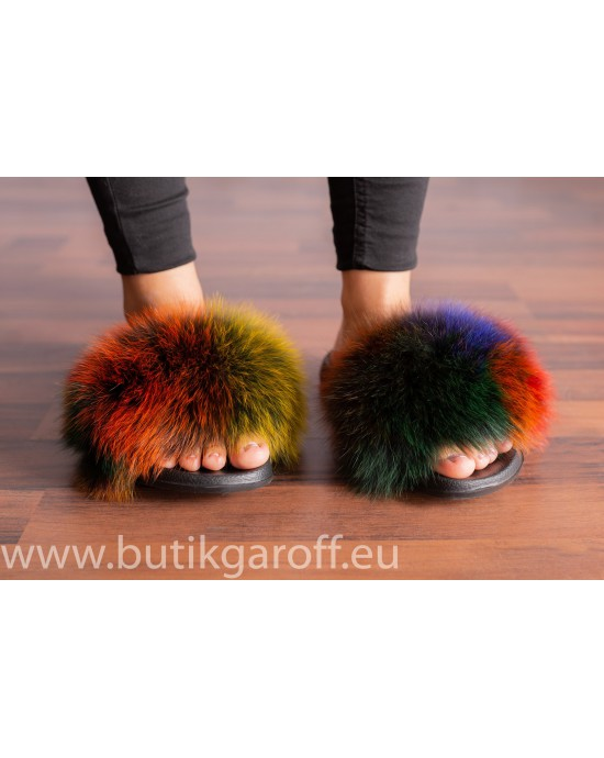 FLUFFY FUR SLIPPERS - MULTICOLOR