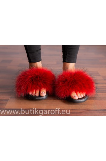FLUFFY FUR SLIPPERS - RED