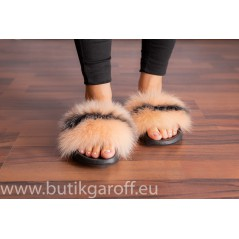 FLUFFY FUR SLIPPERS - LIGHT BEIGE/BLACK