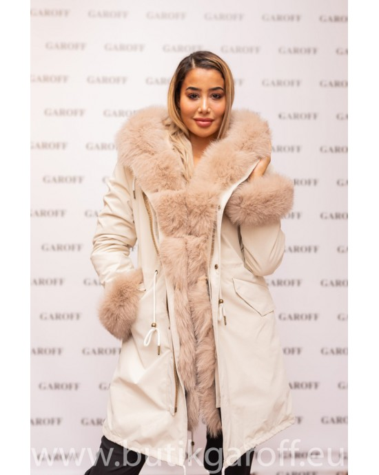 BEIGE REAL FOX LIGHT BEIGE FUR EXLUSIVE PARKA