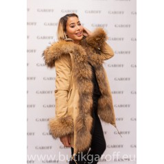 BEIGE EXCLUSIVE PARKA WITH REAL RACOON  FUR