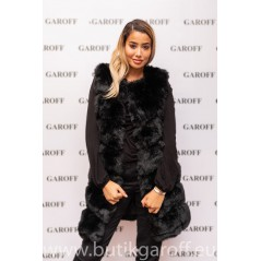 LONG VEST FAKE FUR - BLACK 90cm