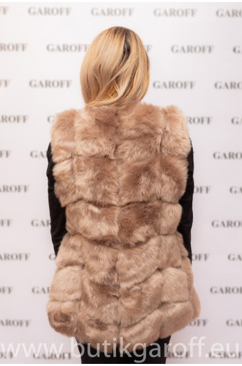 FAKE FUR VEST - LIGHT BROWN