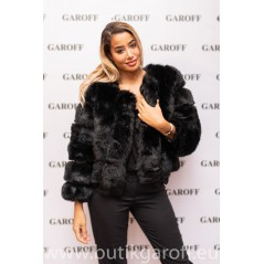 SHORT FLUFFY FAKE FUR  JACKET - BLACK