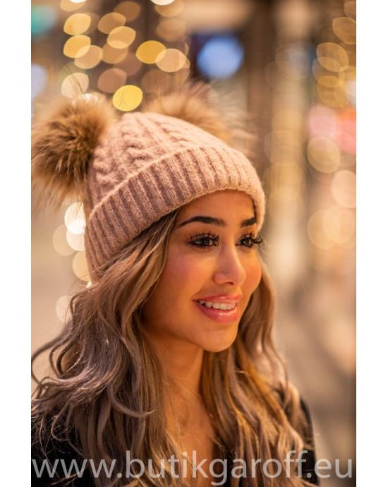 Winter cap with 2 pompons - grey