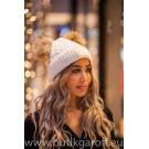 Winter cap with 2 pompons - white