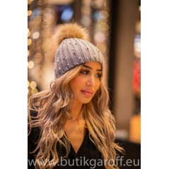 Winter cap with pearl  - beige