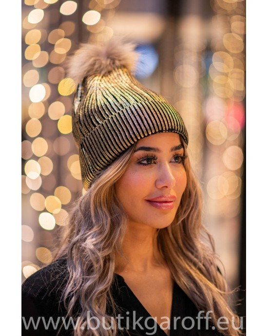 Winter cap with real racoon pompon - model 1