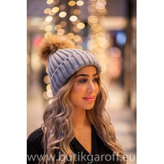 Winter cap with real racoon pompon - model 2
