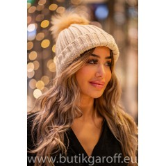 Winter cap with real racoon pompon - model 6