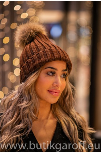 Winter cap with real racoon pompon - model 7