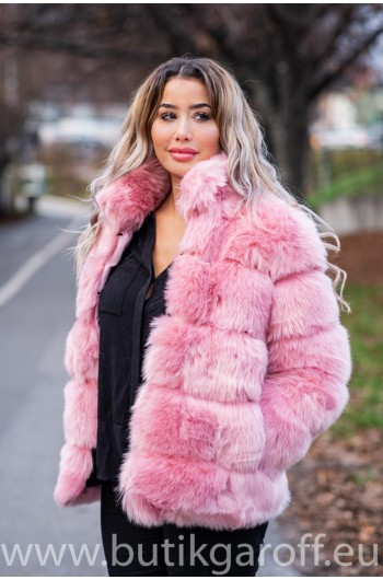FLUFFY FAKE FUR  JACKET - LIGHT PINK
