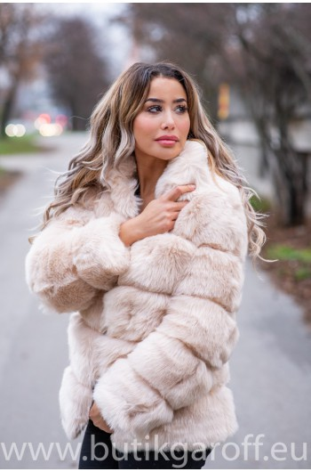 FLUFFY FAKE FUR  JACKET - LIGHT BEIGE