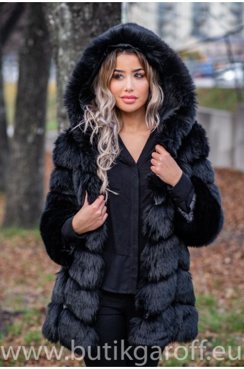 FLUFFY FAKE FUR  JACKET - BLACK