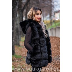 Fake fur vest - BLACK with HOODIE 70cm